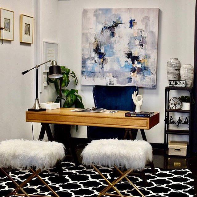 Office desk with beautiful modern art