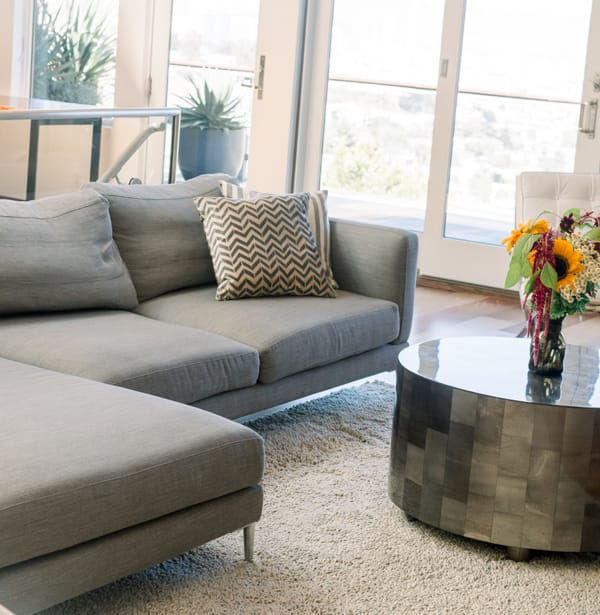 Grey Sofa with center table